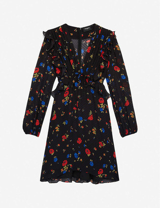 The Kooples Floral-print peplum silk mini dress