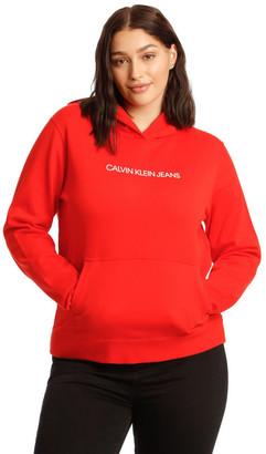 Calvin Klein Jeans Inclusive Shrunken Instit Hoodie Red