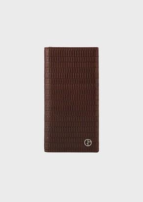 Giorgio Armani Vertical Wallet In Full-Grain Leather