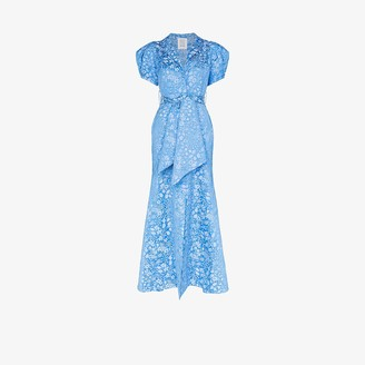 Rosie Assoulin Pouf Sleeve Floral Jacquard Maxi Dress