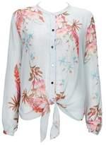 Wallis Blue Tie Floral Print Blouse