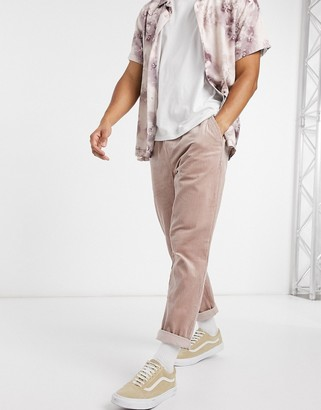 ASOS DESIGN cord slim pants in washed pink