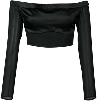 Kiki de Montparnasse Cage off-shoulder cropped top