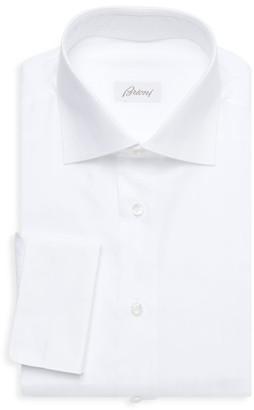 Brioni Thick Stripe Cotton Dress Shirt