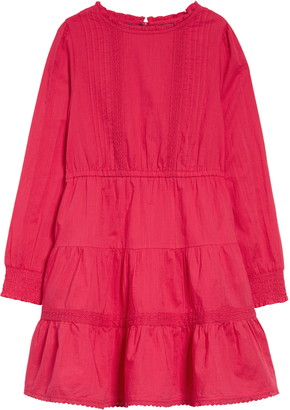 Boden Kids' Lace Detail Long Sleeve Tiered Dress