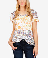 Lucky Brand Printed Zip-Back T-Shirt