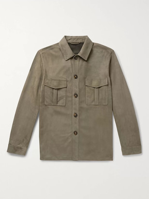 Loro Piana Suede Overshirt - Men - Green