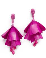 Oscar de la Renta Impatiens Flower Clip On Drop Earrings