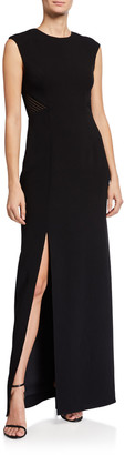 Halston Sleeveless Heavy Crepe Gown w/ Back Embroidery Detail