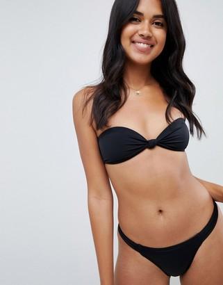 Asos Design DESIGN recycled mix and match knot front bandeau bikini top-Black