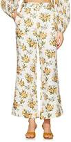 "Zimmermann Women's ""Golden"" Floral Linen Crop Flared Pants"