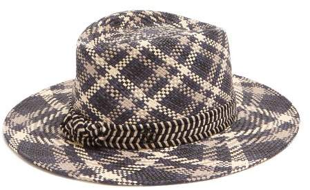 Maison Michel Thadee Straw Hat - Womens - Blue