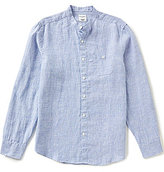 Murano Long-Sleeve Slim Houndstooth Mandarin Collar Shirt