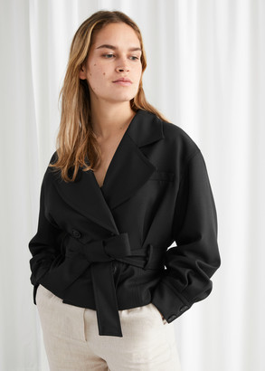 And other stories Belted Wool Blend Trench Jacket