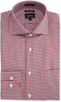 Neiman Marcus Trim-Fit Regular-Finish Pinwheel Dress Shirt, Burgundy