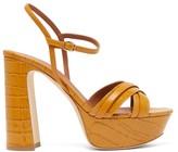 Malone Souliers Mila Crocodile-effect Leather Platform Sandals - Womens - Tan