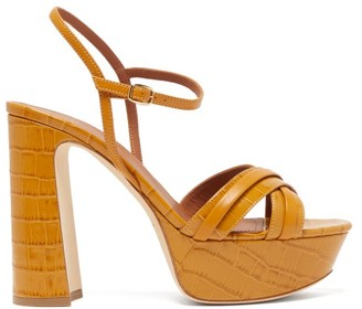 Malone Souliers Mila Crocodile-effect Leather Platform Sandals - Tan