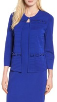 Ming Wang Women's Buckle Trim Ribbed Knit Jacket