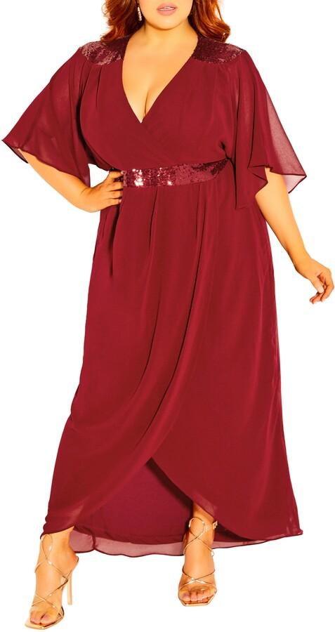 City Chic Sequin Faux Wrap Dress