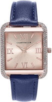 Charter Club Women's Rose Gold-Tone Navy Faux Leather Bracelet Watch 32mm, Only at Macy's