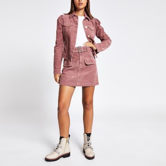 River Island Womens Pink corduroy puff sleeve fitted jacket