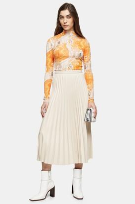 Topshop Cream PU Pleated Midi Skirt