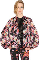 Giambattista Valli Printed Satin & Macramé Lace Shirt