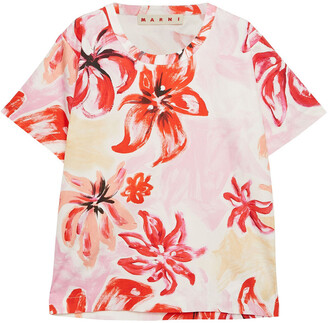 Marni Printed Cotton And Silk-blend Poplin Top