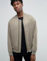 Asos Tencel Stone Wash Bomber In Khaki