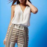 River Island Womens RI Studio white print zip silk blouse
