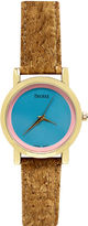 JCPenney Decree Womens Cork Band Colored Dial Watch