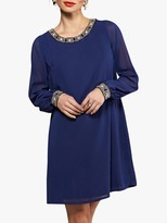 Yumi Embellished Neck and Cuff Tunic, Navy