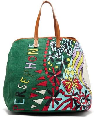 La DoubleJ Big Mama Persephone Canvas And Leather Tote Bag - Multi
