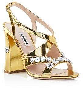 Miu Miu Women's Metallic Crystal Embellished Block Heel Sandals