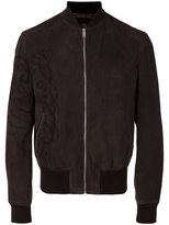 Alexander McQueen zip front bomber jacket - men - Cotton/Calf Leather/Viscose - 50