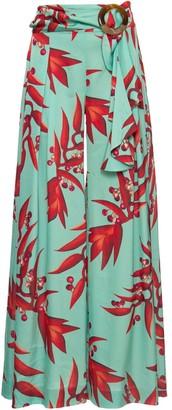PatBO Floral-Print Silk Palazzo Pants
