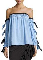 Milly Blythe Off-the-Shoulder Stretch-Poplin Top, Multi Pattern