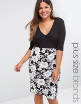 Club L Plus Plunge Midi Dress With Floral Print Skirt