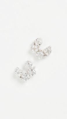 Suzanne Kalan 14k White Gold Hexagon & White Diamond Earrings
