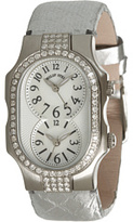 Philip Stein Teslar Small Signature Double Diamond Watch On Silver Satin Snake Strap Watches