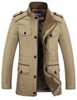 Zicac Men's Spring Fall Thin Cotton Jacket MD-Long Windbraker Trench Coat Plus Size