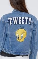 Beginning Boutique Vintage Varsity Tweety Cropped Denim Jacket