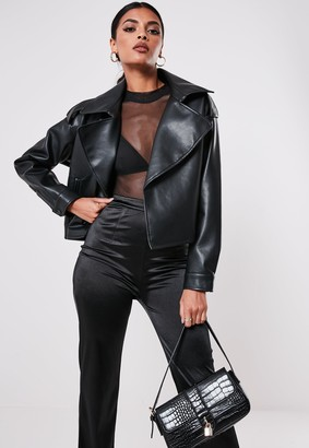 Missguided Petite Black Faux Leather Trench Style Crop Jacket