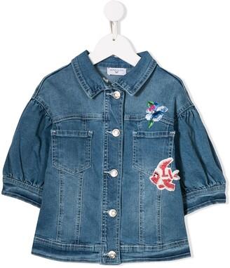 MonnaLisa Little Mermaid embroidered denim jacket