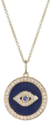 Sydney Evan Diamond, Sapphire, Navy Blue Enamel & 14K Yellow Gold Evil Eye Necklace