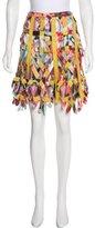 Zac Posen Silk Leather-Paneled Skirt