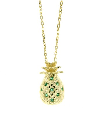 Cosanuova Sterling Silver Pineapple Emerald Necklace In Yellow