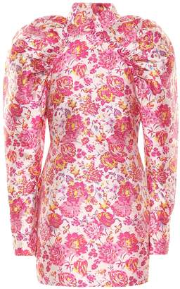 Rotate by Birger Christensen Floral puff-sleeve minidress