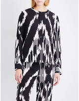 Theory Ladies Printed Isalva Ikat-Print Silk Blouse