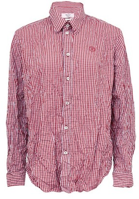 Martine Rose Logo-embroidered Crinkled Checked Shirt - Womens - Red Multi